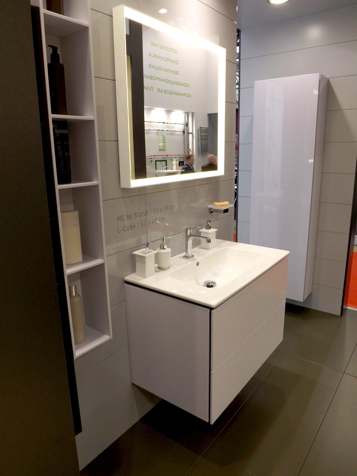 Мебель для ванной и зеркало L-Cube с раковиной ME by Starck от Duravit на выставке МосБилд 2015. Вид А