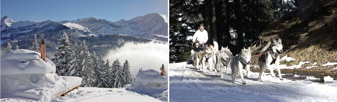 Пейзажи и развлечения, доступные для постояльцев отеля Whitepod в Швейцарии, который является одним из образцов современного глэмпинга