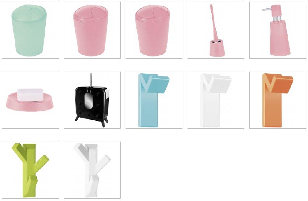 Контейнеры для мусора, крючки для полотенец и другие аксессуары для ванной из числа новинок от Spirella 2016