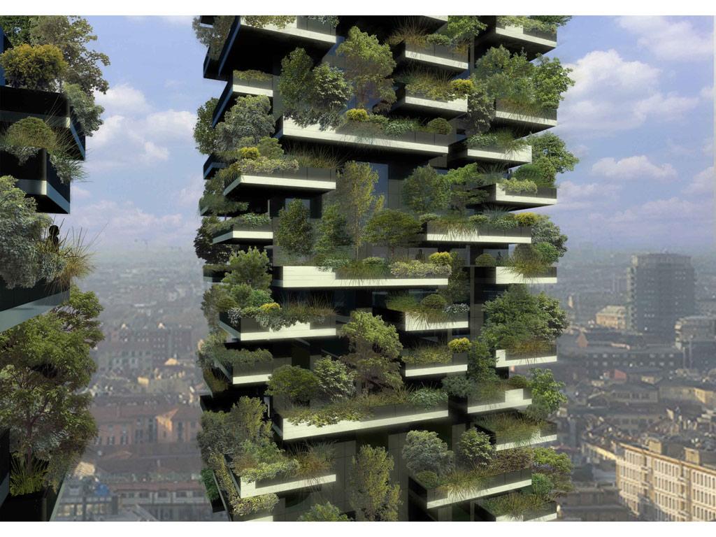 Иллюстрация к статье об использовании продукции Geberit в строительстве миланских высотных зданий Bosco Verticale. Вид В