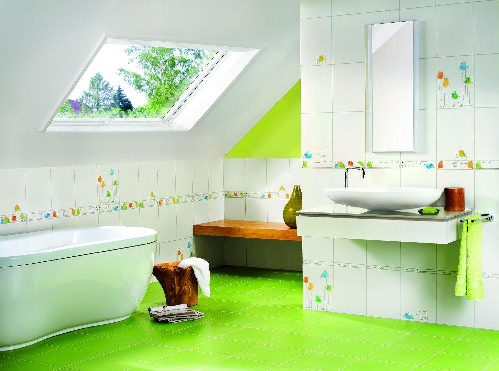 Детская ванная комната на рекламной иллюстрации производителя керамической плитки