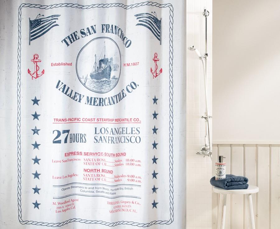 Штора для ванной комнаты 180x200см текстильная Spirella SAG HARBOUR