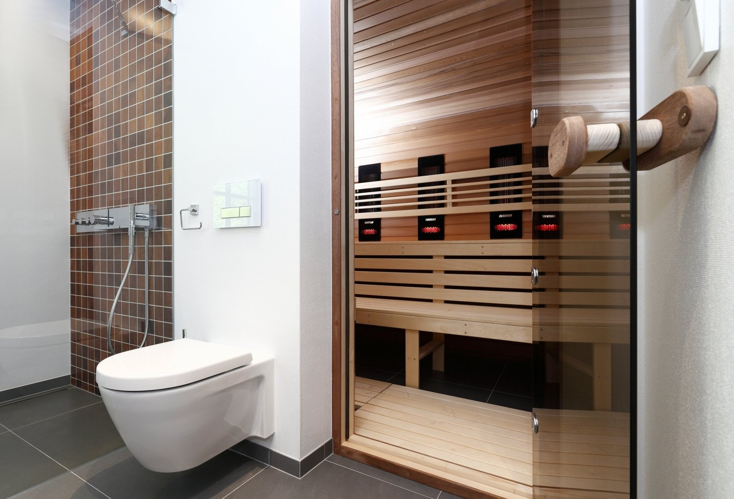 Туалетное место оборудованное сантехникой Geberit в современной сауне