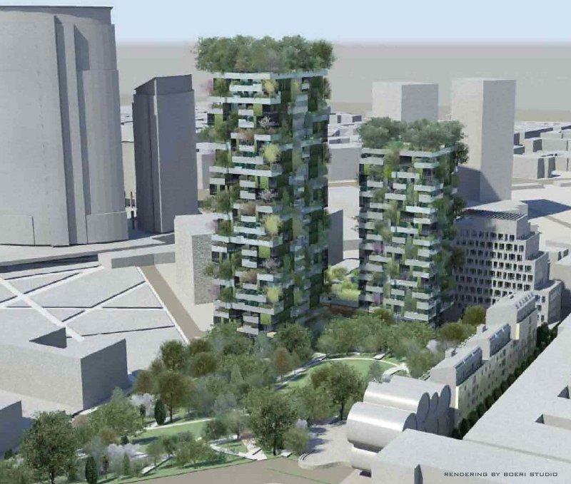 Иллюстрация к статье об использовании продукции Geberit в строительстве миланских высотных зданий Bosco Verticale. Вид Б