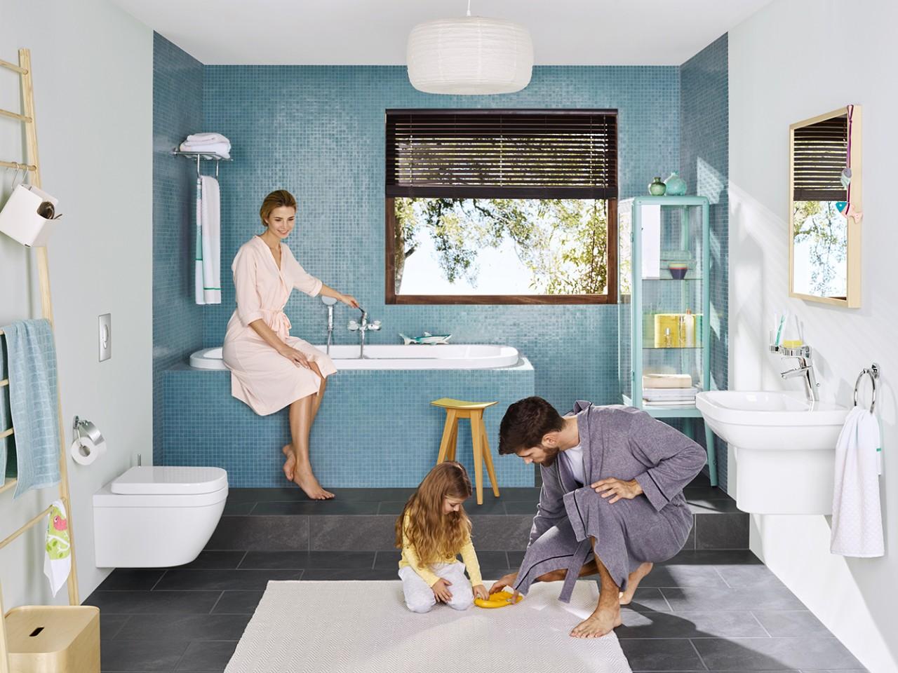 Образное выражение основных идей использованных для создания серии EUROSMART от Grohe в интерьере ванной комнаты