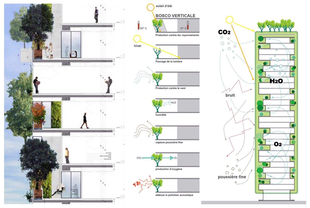Иллюстрация к статье об использовании продукции Geberit в строительстве миланских высотных зданий Bosco Verticale. Вид Д