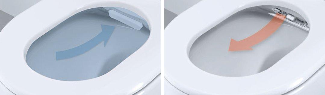 Иллюстрация функций обдува бёдер тёплым воздухом для обсушивания (справа) и удаления неприятных запахов, которыми оборудован унитаз-биде SENSIA ARENA от Grohe