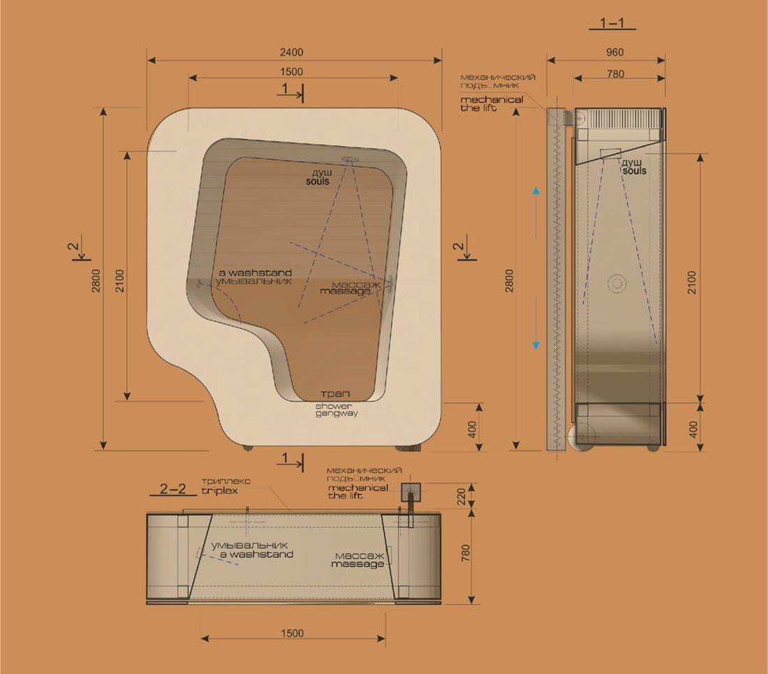 Ванна и душ в одном модуле — схема