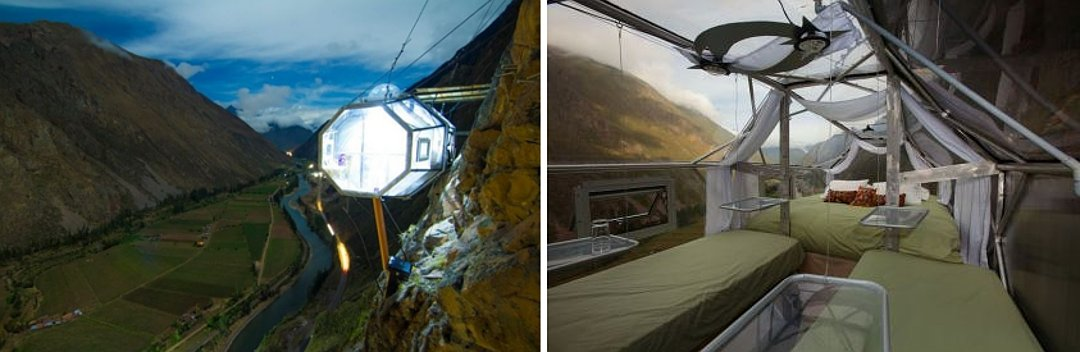 Внешний вид и интерьер жилого модуля глэмпинг-курорта от Skylodge Suites в Перу