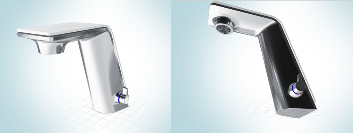 Проекции 3D-модели смесителя Oras SENSE для ванной комнаты