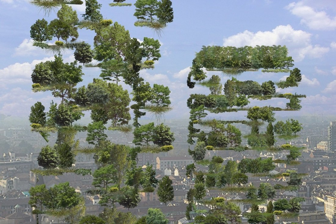 Иллюстрация к статье об использовании продукции Geberit в строительстве миланских высотных зданий Bosco Verticale. Вид Е
