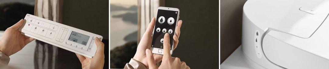 Иллюстрация возможностей управления унитазом-биде SENSIA ARENA от Grohe с помощью фирменного пульта управления, специального приложения на смартфоне или кнопок, расположенных сбоку сиденья