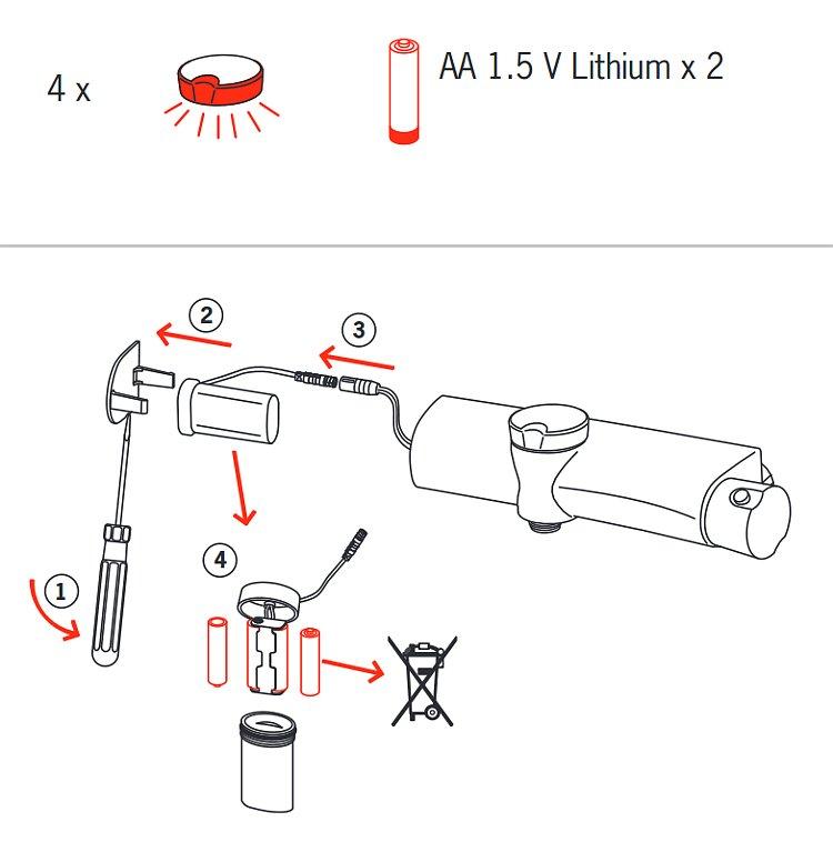 Замена батареек смесителя для ванны Oras ETERNA 6375U