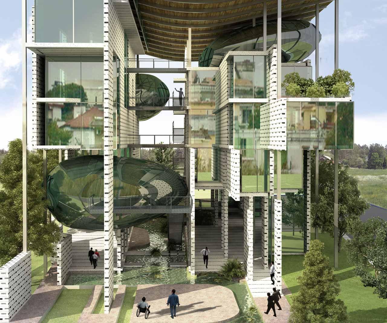 Иллюстрация для статьи о проекте дома-губки, на который обратили внимание менеджеры бренда Hansgrohe AXOR летом 2014 года. Вид Д
