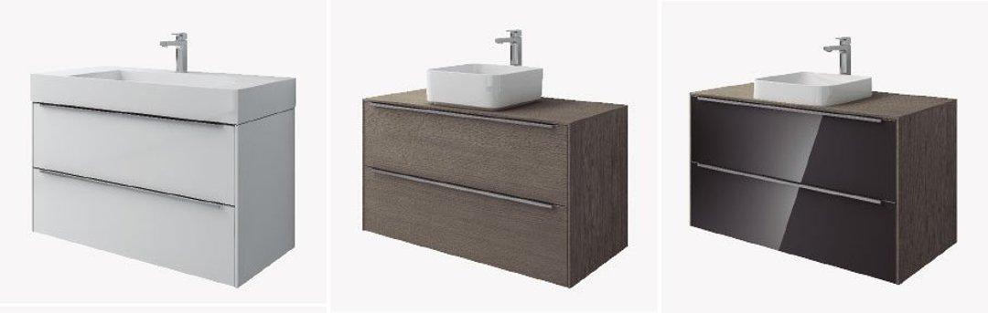 Цветовые варианты оформления мебельных модулей (тумб) под раковины Roca INSPIRA
