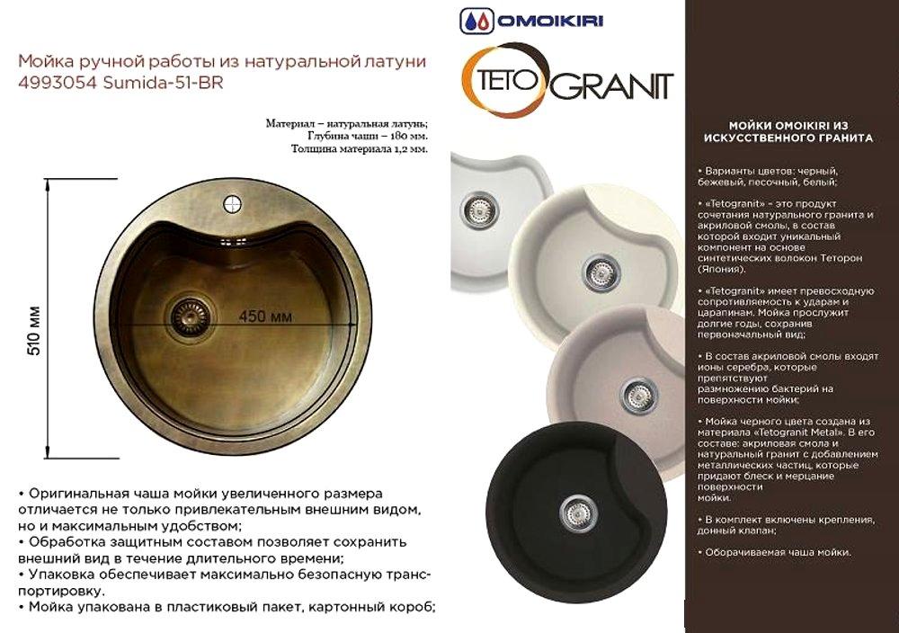Кухонные мойки SUMIDA-51-BR и из материала TETOGRANIT от Omoikiri