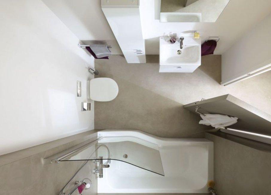 Как маленькие ванные комнаты могут выглядеть большими. Ванна сужается - пол расширяется