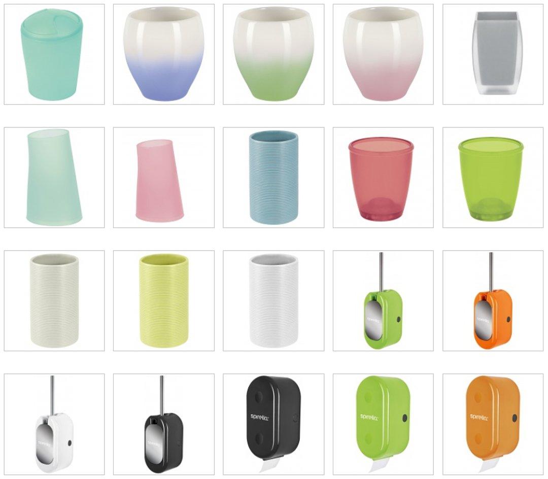 Стаканы для зубных щёток и полоскания рта, ёршики для унитазов, держатели для туалетной бумаги и другие аксессуары из числа новинок от Spirella 2016