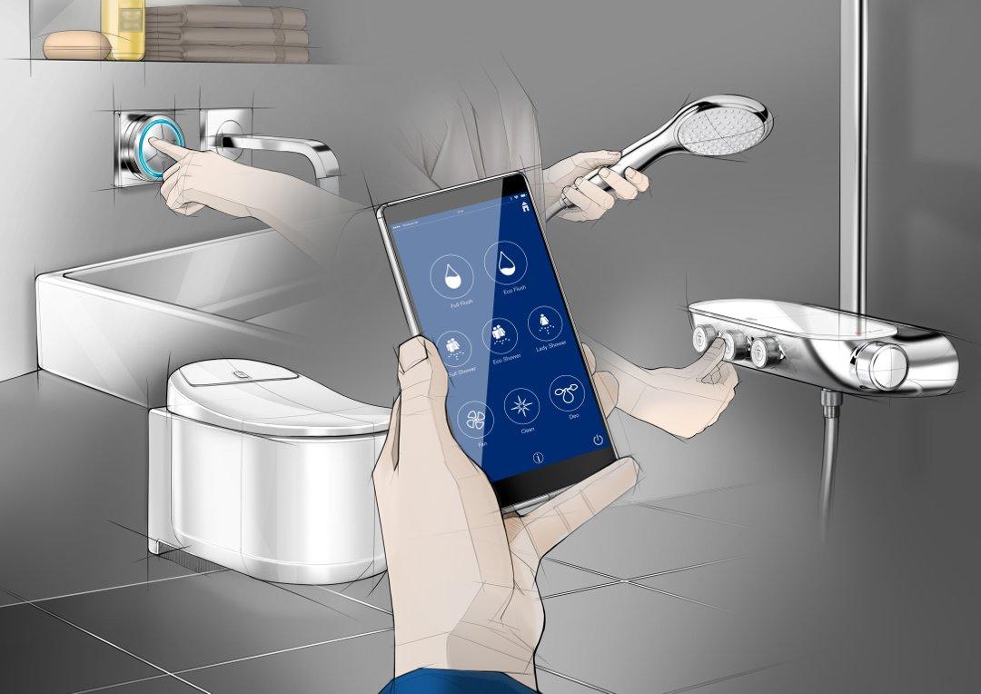 Иллюстрация возможностей управления унитазом-биде SENSIA ARENA от Grohe с помощью специального приложения на смартфоне