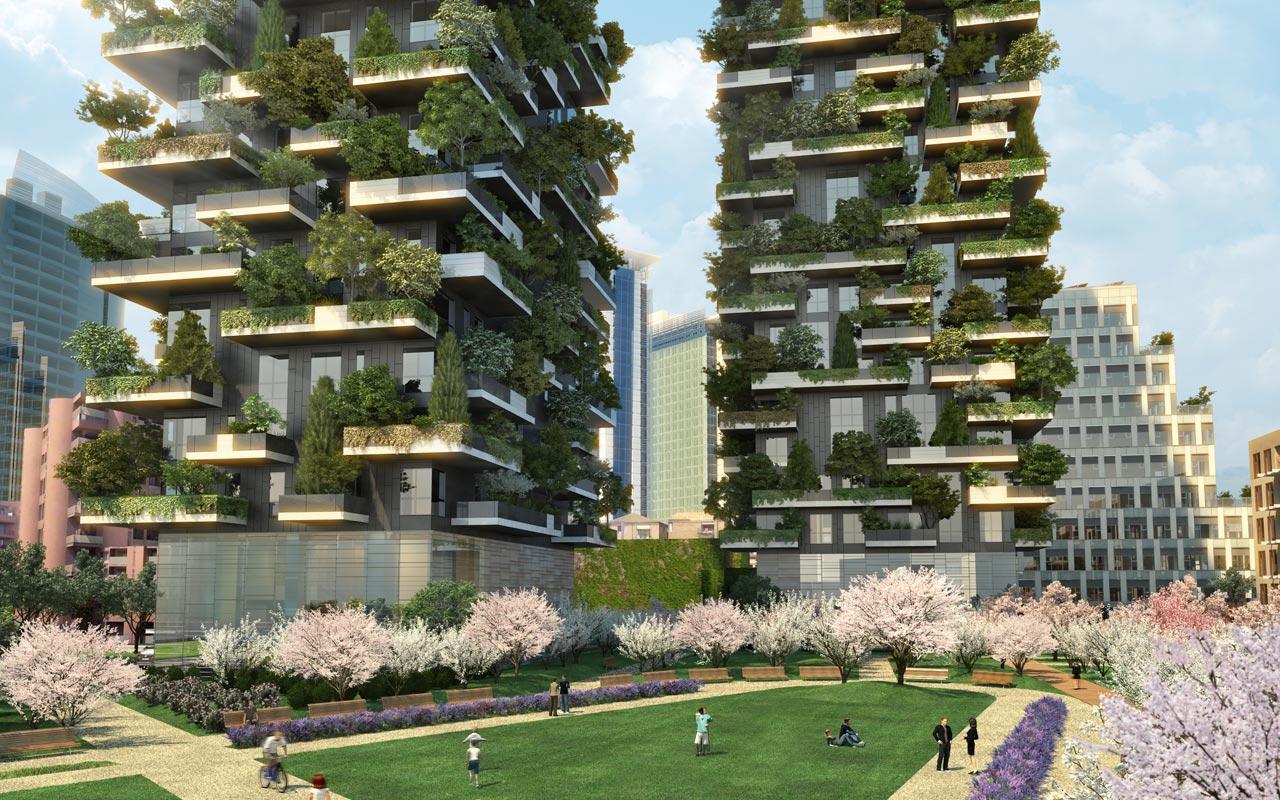Иллюстрация к статье об использовании продукции Geberit в строительстве миланских высотных зданий Bosco Verticale. Вид А