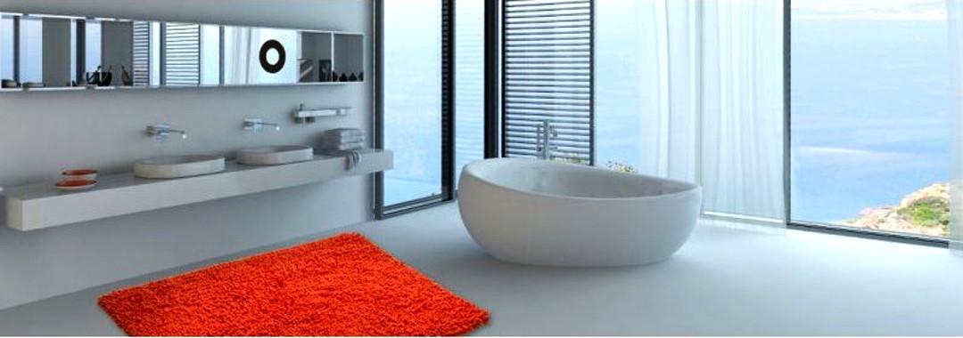 Оранжевый хлопковый коврик для ванной из коллекции CORALL от Grund: 60х90 см