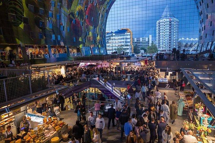 Первый крытый продовольственный рынок Нидерландов Markthal Rotterdam