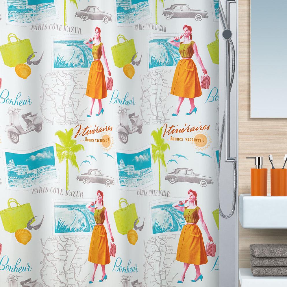 Текстильная штора для ванной Spirella 2014 года с декором в стиле 50-х